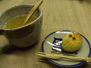 ふくろう饅頭とゆず茶
