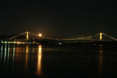 瀬戸大橋と満月